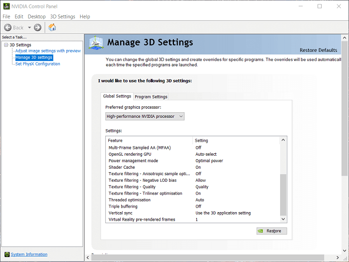 Restore your 3D Settings to Default
