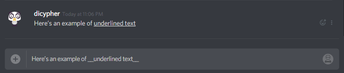 Underlined text in Discord
