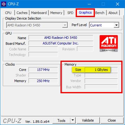 Use CPU-Z to check VRAM in Windows 10