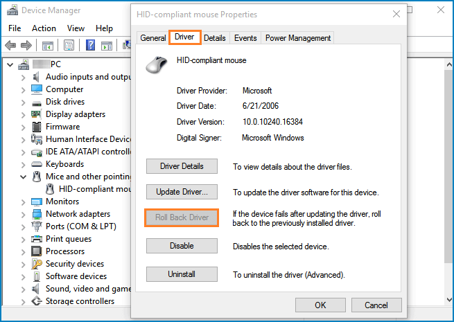 Fix mouse lag-Roll Back the Mouse Driver