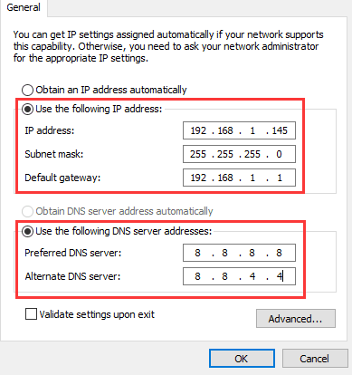Manually Set IP Address-wifi doesn't have a valid ip configuration