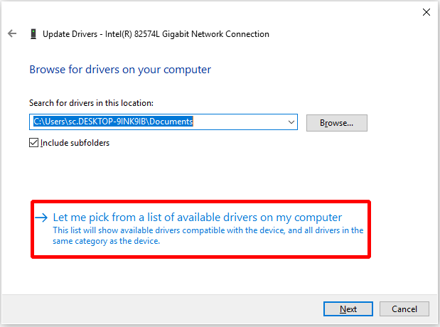 Use Another Network Adapter Driver